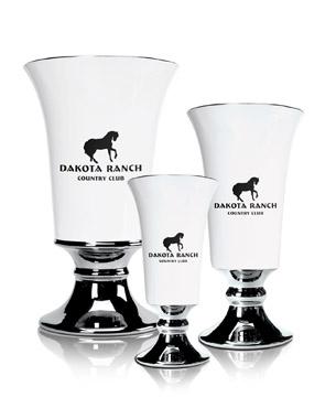 Ceramic Trophy Cups, CGC40-CGC41-CGC42, White Ceramic Vase with Silver Accents