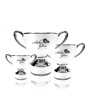 Ceramic Trophy Cups, CGC46-CGC47-CGC48, White Ceramic Classic Trophy Cup with Silver Accents
