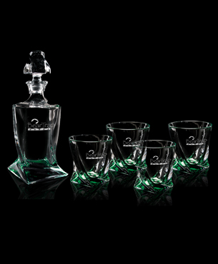 Drinkware, FS-1002-SET, Emerald Quadro Decanter Set