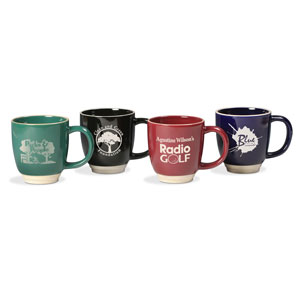 , Bistro Mug with Trim, Colored Mugs with Almond Trim (Green, Black, Burgundy, Cobalt Blue)