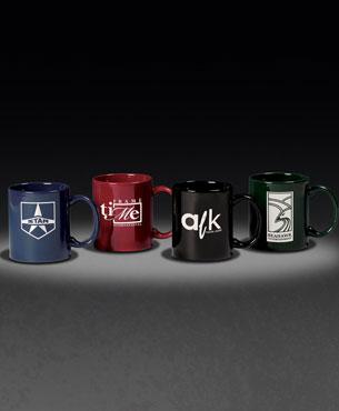 , C-Handle Mug, 3 Finger C-Handle Mug • 11 oz. (Color: Wedgewood Blue, Burgundy, Black, Hunter)