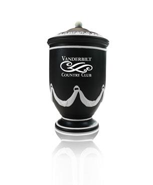 Ceramic Trophy Cups, CGC36, Black Ceramic Jar with Bone Accents