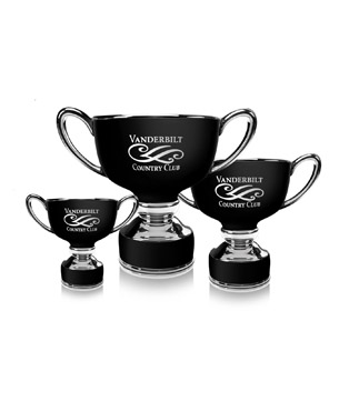 Ceramic Trophy Cups, CGC49-CGC50-CGC51, Black Ceramic Classic Trophy Cup with Silver Accents