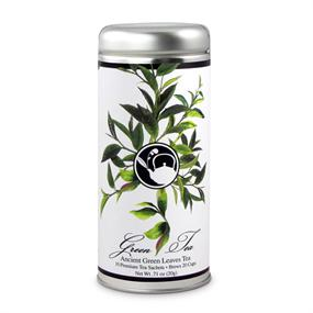 Tea Can Company Ancient Green Leaves Tall Tin